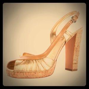 Prada Shoes - Prada Metallic Cork Sandal Heels