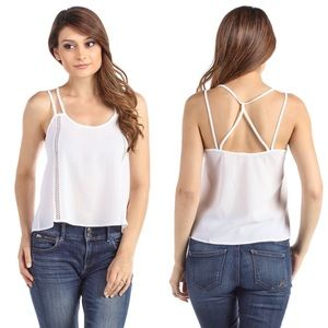 Strappy Open Back Lace Inset Cami Blouse White