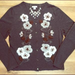Garnet Hill Grey Embroidered Cardigan