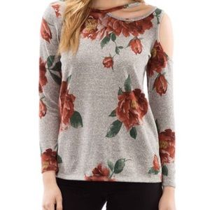The Blossom Apparel Tops - ‼️CLEARANCE‼️Floral Print One Shoulder Cutout Top