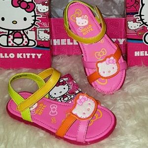 Hello Kitty Other - NEW HELLO KITTY 13 Sandals Pink Yellow Velcro Shoe