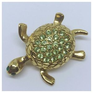 Gold Tone Sea Turtle Brooch Green Stones Pin