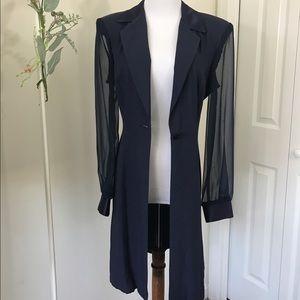 Vintage Navy Sheer Sleeves Blazer