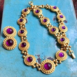 Jewelry - Vintage Gold & Purple cabochon stone Necklace set