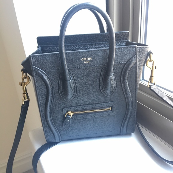 70b462f68bad Celine Bags | Nano Luggage Tote Black Grain Leather | Poshmark
