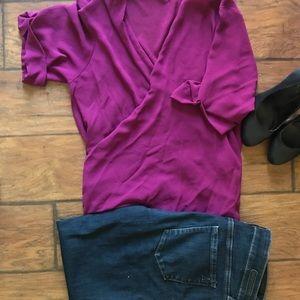 Naked Zebra Tops - 3/4 sleeve magenta wrap blouse