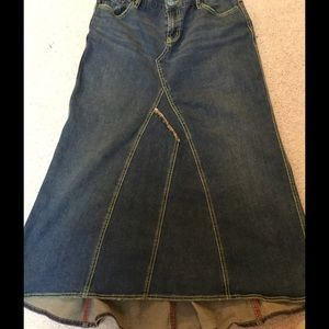 Free People Retro Style Maxi Denim Skirt-Size 28
