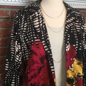 Chico's Black Floral Lined Jacket Size 1/Medium