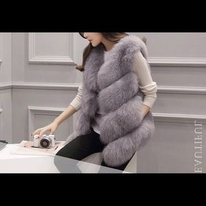 Brand new light gray fur vest