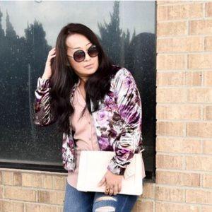 Pink & Lilac Velvet Bomber Jacket