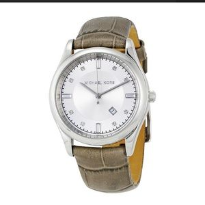 Michael Kors Accessories - Michael Kors Silver Dial Gray Leather Ladies Watch