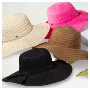 3a10a7bf7 Scala Ribbon Crusher Sun Protection Wide Brim Hat NWT