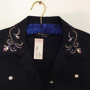Swarovski Jackets & Blazers - Christine Alexander x Swarovski Black Beaded Jacke