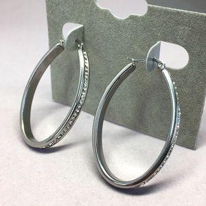Jewelry - Stainless Steel Swarovski Crystal Hoop Earring