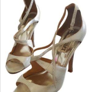 Badgley Mischka Shoes - Badgley Mischka Satin  Silver Heels