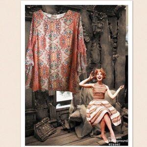 Lady Noiz Coral Bell Sleeve Tunic Dress