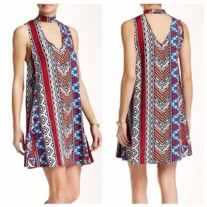 MinkPink Multi Color Tribal Dress With Choker