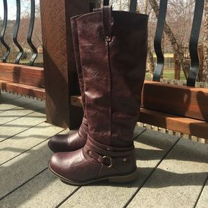 Journee Collection Shoes - Cabernet riding boots