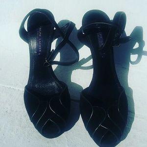Ralph Lauren Purple Label Shoes - SUEDE BLACK TULIP RL PURPLE LABEL HEELS 9.5