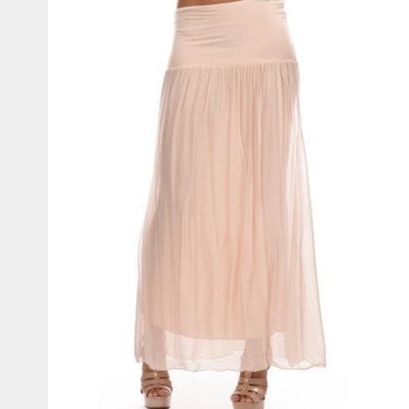 🍃💕Italian Silk Fold Over Waist Skirt Blush Pink Boutique