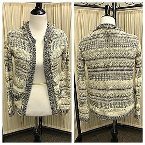 Zara Knit Ivory & Black Open Front Cardigan