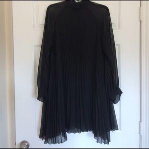 Paper Crane Dresses & Skirts - Long Sleeve Pleated A-line Black Mini Dress Med/Lg