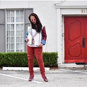 New York & Company Denim - Distressed Red Jeans