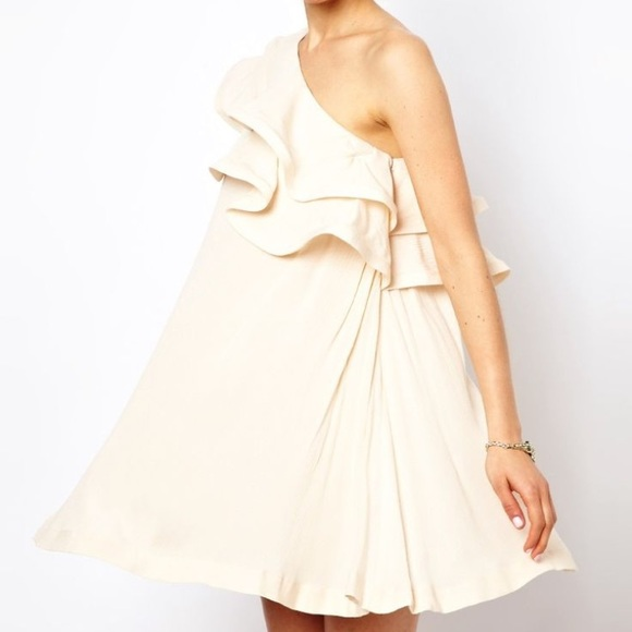 ASOS Dresses - ASOS Cream One Shoulder Dress With Ruffle Detail