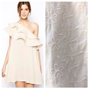 ASOS Cream One Shoulder Dress With Ruffle Detail