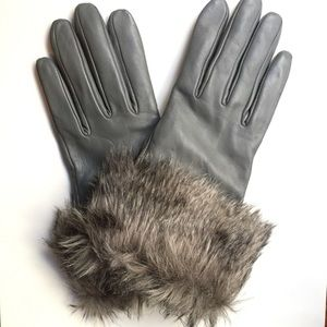 Merona Accessories - Fur Cuff Touch Screen Compatible Leather Gloves