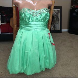 Green tube mini dress