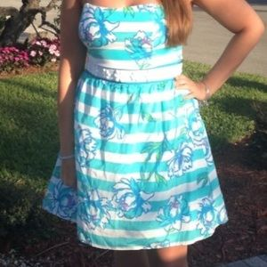 Lilly Pulitzer Shorely Blue Strapless Dress floral