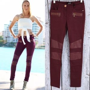 Pants - Burgundy Faux Leather Zippered Pants