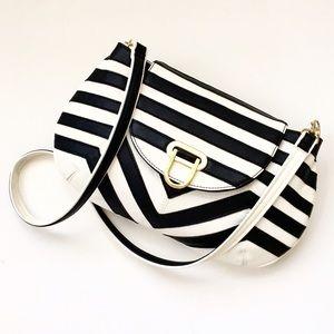 Melie Bianco Handbags - Melie Bianco Striped Shoulder Bag/Clutch, *AS IS