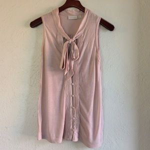 Hinge Tops - Sleeveless Blush Button Front Blouse