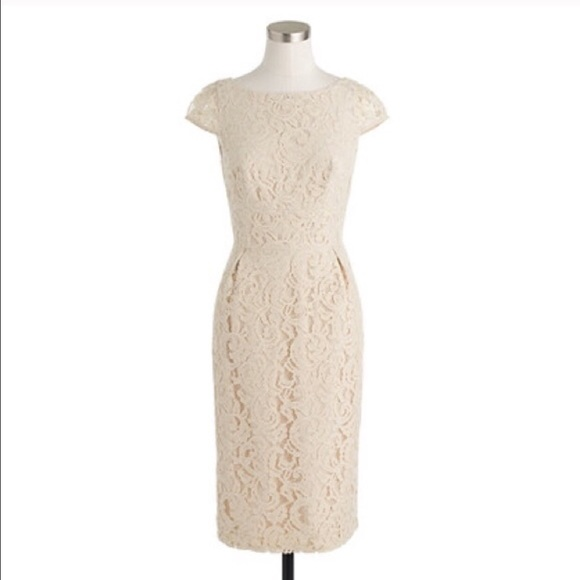 9b0f17906ea J. Crew Elsa Dress in Leavers lace - Champagne NWT