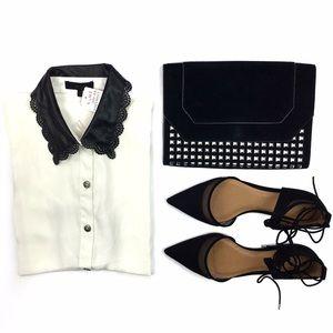 a'gaci Tops - NWT White Button Down Faux Leather Collar Blouse