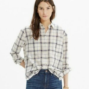 Madewell oversized boy shirt in Pebble Plaid