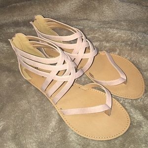 f5ab45854593 Lulu s Shoes -  Cairo Queen Blush Nubuck Strappy Thong Sandals