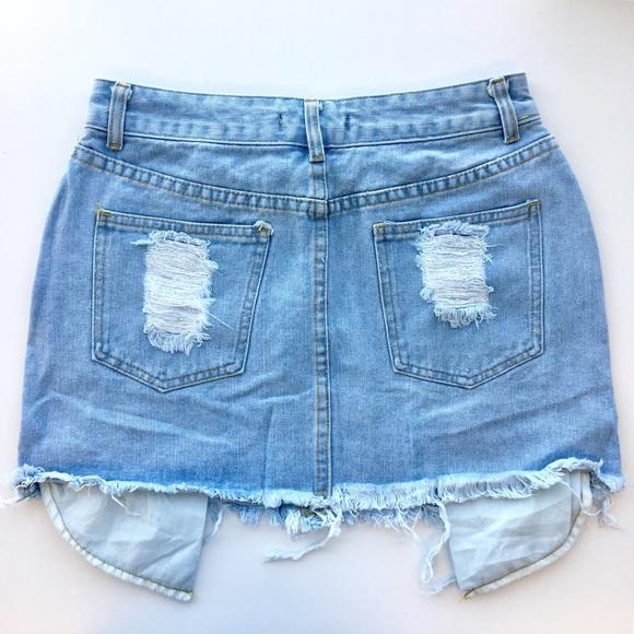 RGL Collection Skirts - Distressed Denim Mini Skirt