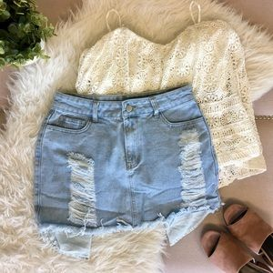 Distressed Denim Mini Skirt
