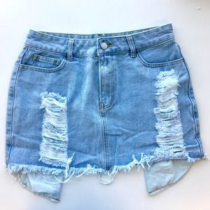 RGL Collection Skirts - Distressed Denim Mini Skirt
