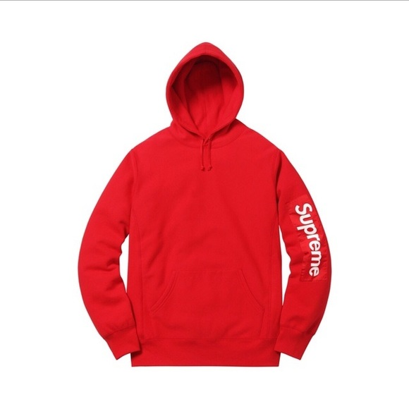 replicas shop for high quality materials Supreme Sleeve Patch Hoodie Red NWT