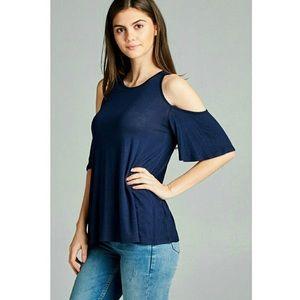 Tops - Cutout shoulder half-sleeve swing top --Navy blue