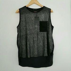 Zara Metallic Black Soft Sateen T-Shirt