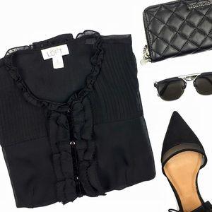 LOFT Tops - Ann Taylor Loft Black Button Down Sheer Blouse