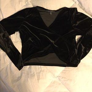 Snap Tops - Black velour long sleeve crop top