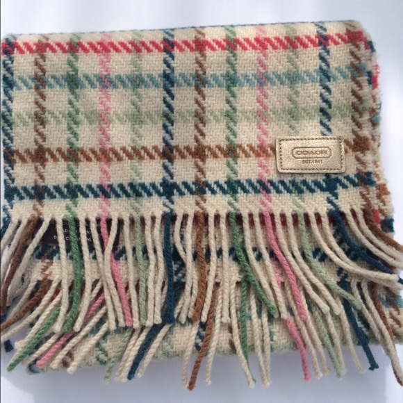 Coach Accessories - Coach - Pastel plaid wool-cashmere fringed scarf