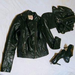 Jackets & Blazers - Leather Bomber Biker Jacket