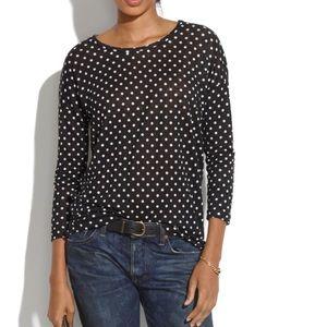 Madewell linen Polka Dot tee shirt